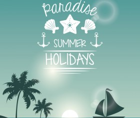 summer holiday time tropical travel poster vector 04