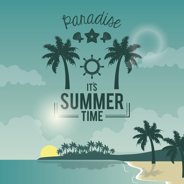 summer holiday time tropical travel poster vector 05