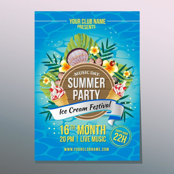summer ice party poster vector