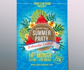 summer party watermelon poster vector