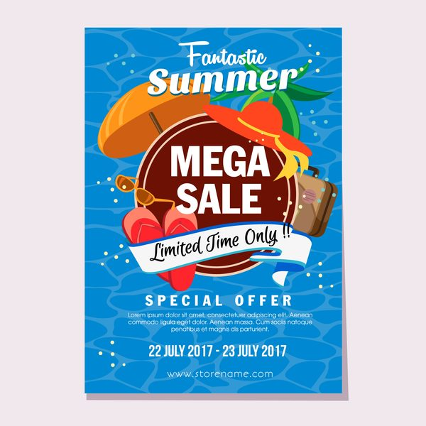summer sale flat style poster vector template