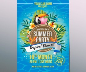 summer tropical party poster vector