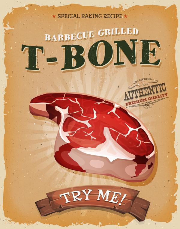 t-bone poster and flyer retro vector