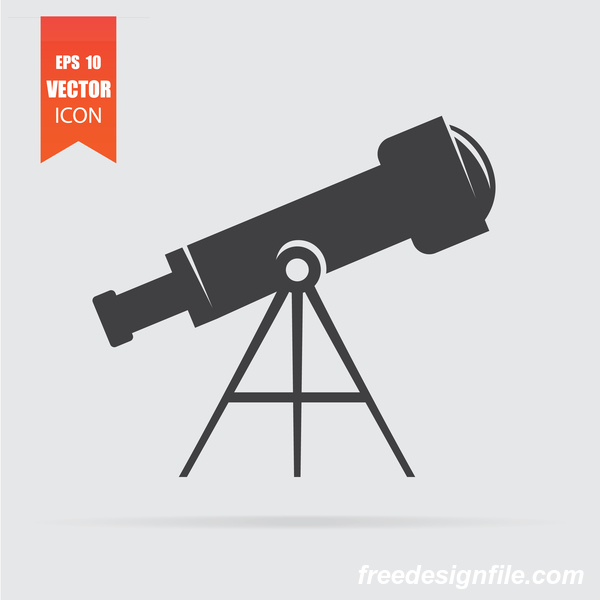 Telescope icon in flat style isolated on grey background.
