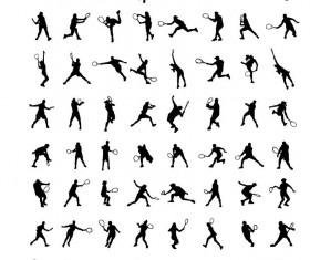 tennis ball silhouette vector set 01