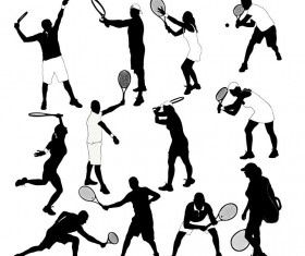 tennis ball silhouette vector set 03