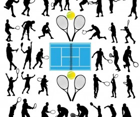 tennis ball silhouette vector set 04