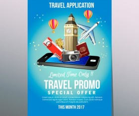 travel application poster vector
