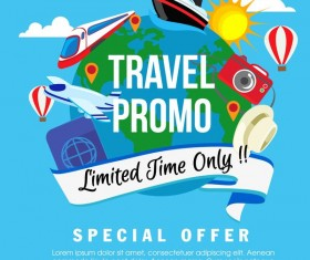 travel promo flat style vector