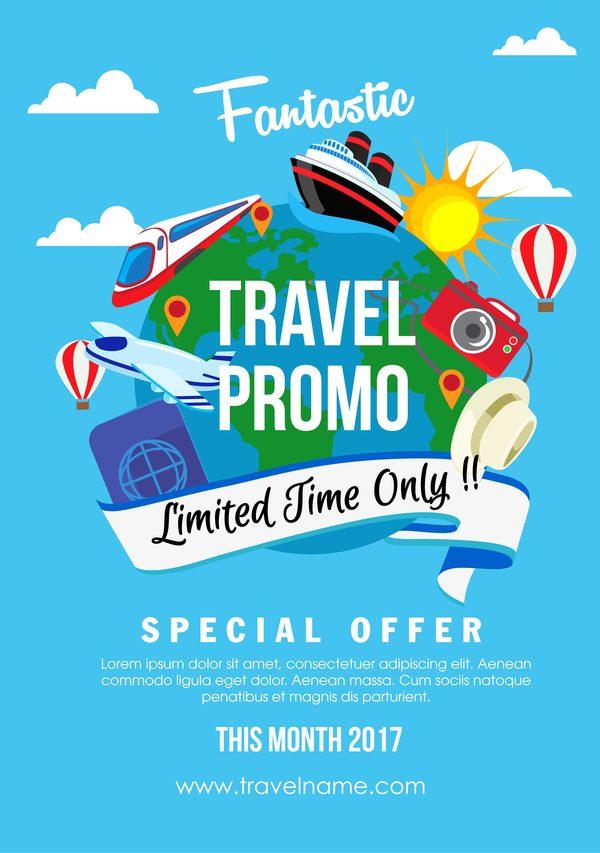travel promo flat style vector