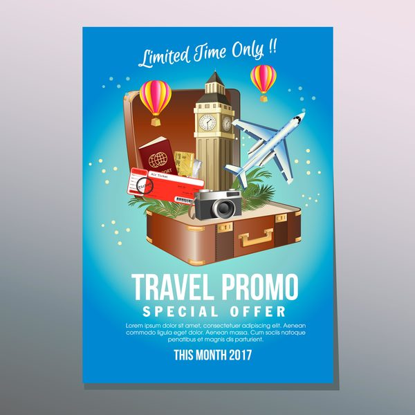 travel suitcase poster template vector