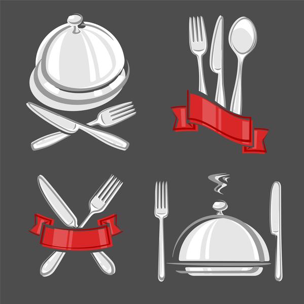 vector restaurant labels set