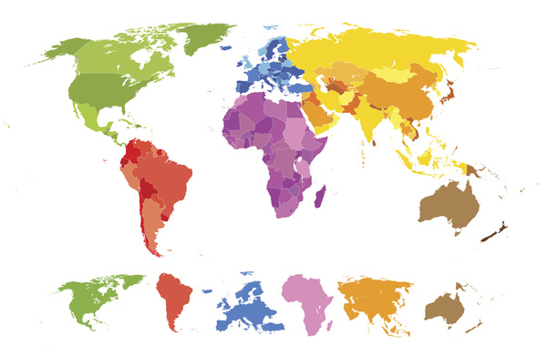 world map colored elements vector