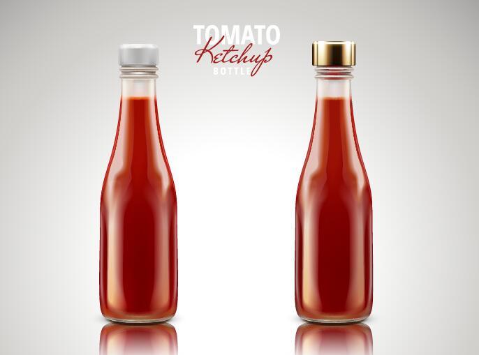 2 bottle tomato ketchup vectors