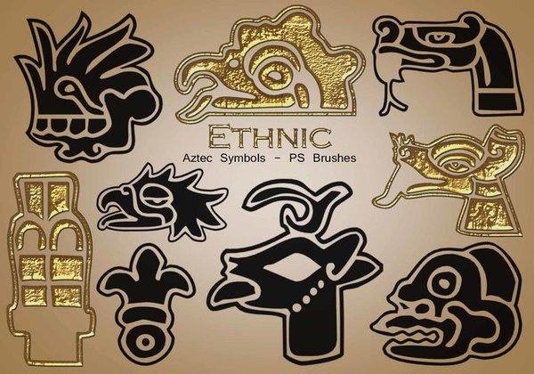 20 Kind Ethnic Aztec Symbols Photoshop Brushes