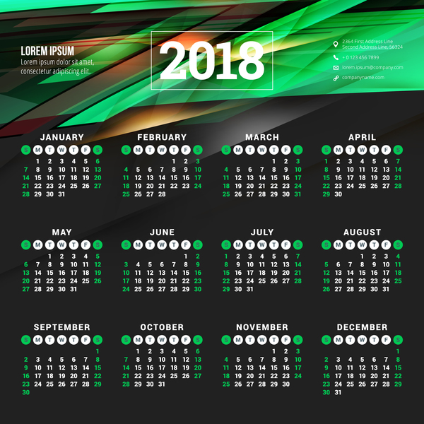 2018 calendar with green abstract background vector 01