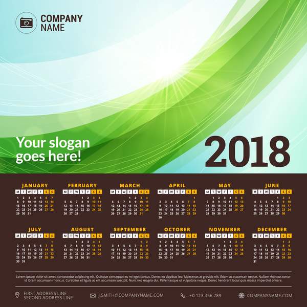 2018 calendar with green abstract background vector 02