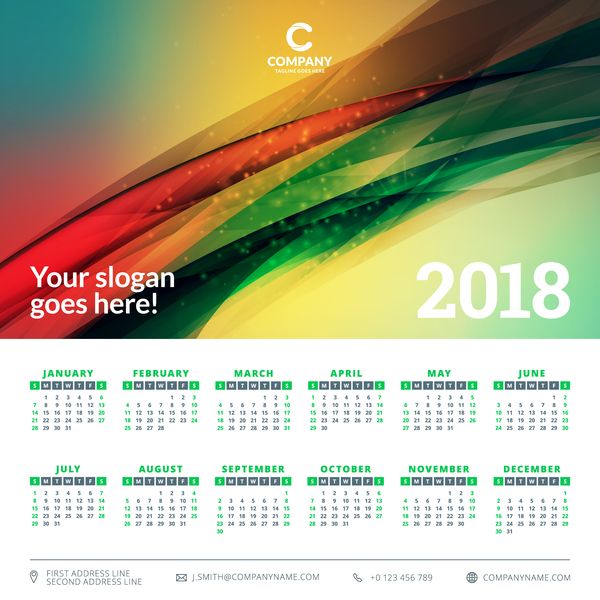 2018 calendar with green abstract background vector 03