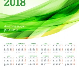 2018 calendar with green abstract background vector 04