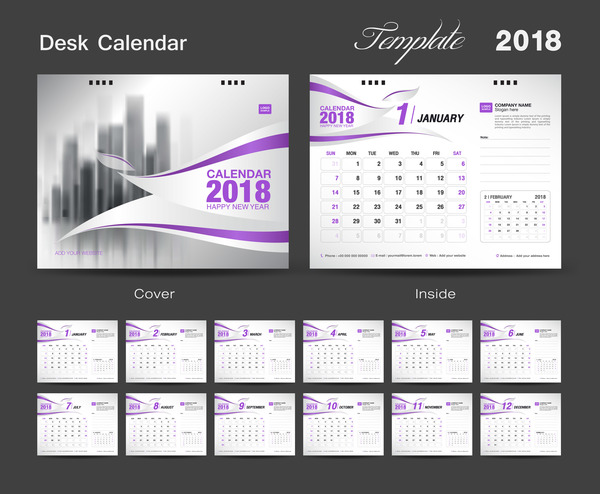 2018 desk calendar purple vector