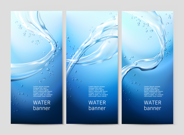 3 Kind water banner vector