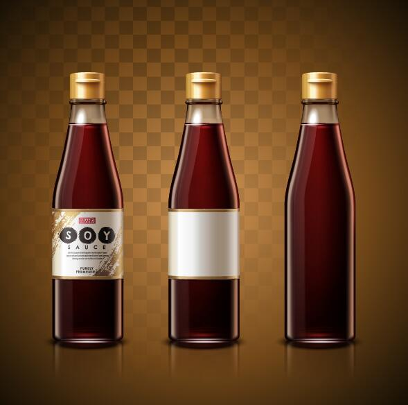 3 bottle soy sauce vector