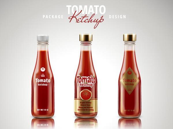 3 bottle tomato ketchup vectors