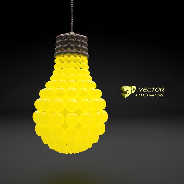 3D lightbulb illustration with idea template vector 02