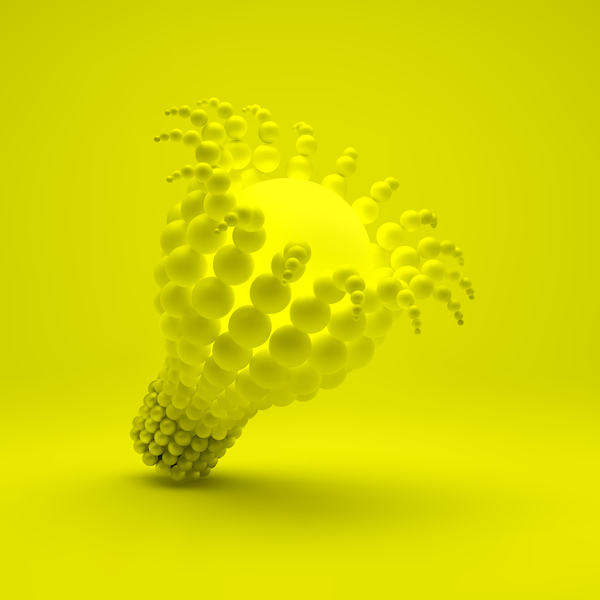 3D lightbulb illustration with idea template vector 03