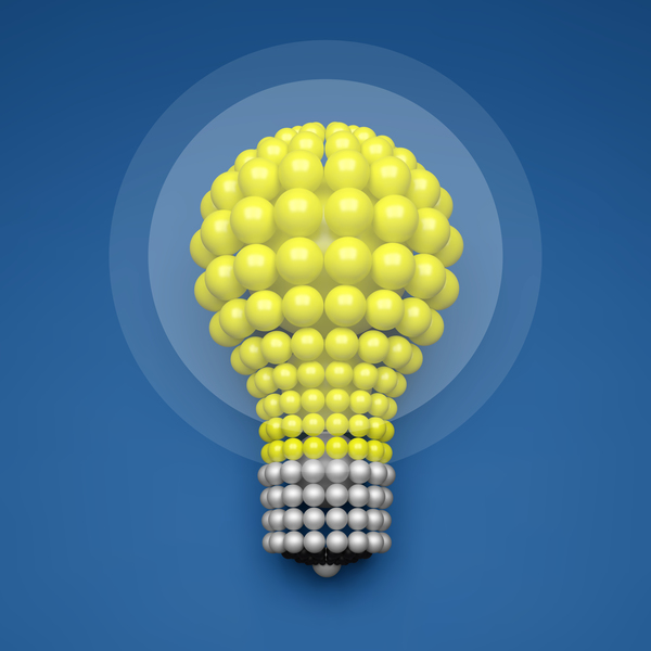 3D lightbulb illustration with idea template vector 05
