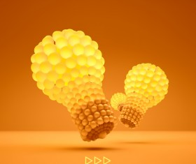 3D lightbulb illustration with idea template vector 06