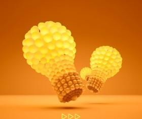 3D lightbulb illustration with idea template vector 06