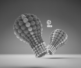 3D lightbulb illustration with idea template vector 07