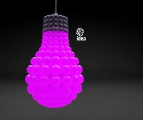 3D lightbulb illustration with idea template vector 08