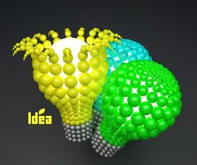 3D lightbulb illustration with idea template vector 10