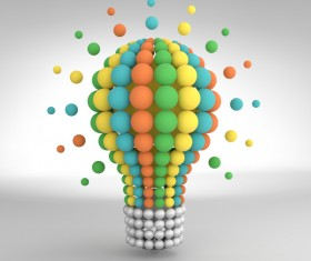 3D lightbulb illustration with idea template vector 12