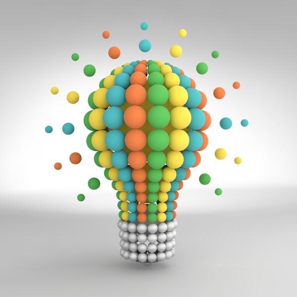 3D lightbulb illustration with idea template vector 12
