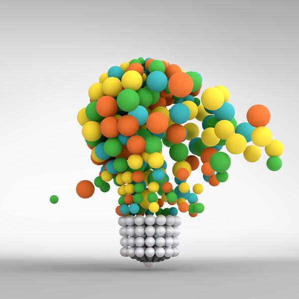 3D lightbulb illustration with idea template vector 13