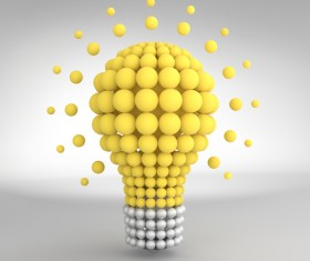 3D lightbulb illustration with idea template vector 15