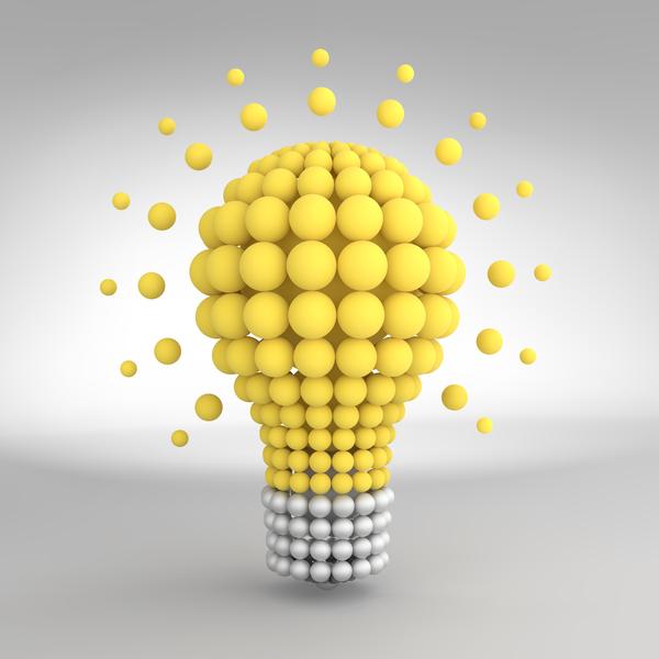 3D lightbulb illustration with idea template vector 15