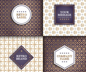 4 Retro labels with seamless pattern vector