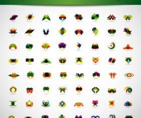 64 abstract icons design vector
