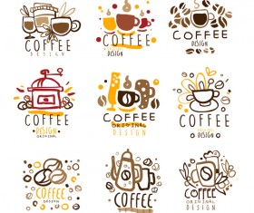 9 Kind hand drawn coffee logos vector set