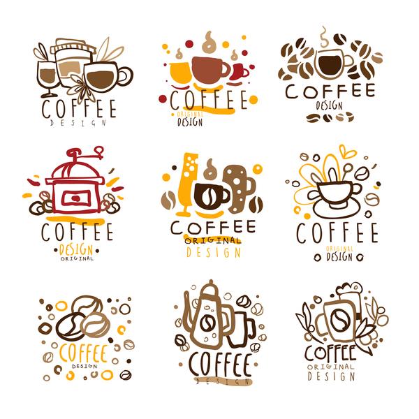 9 Kind hand drawn coffee logos vector set