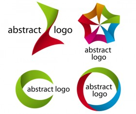 Abstract logos colored vector