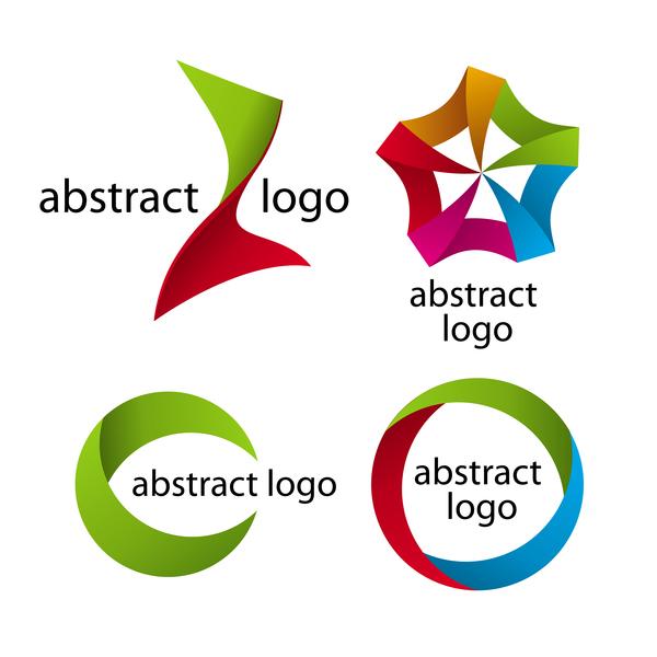 Abstract logos colored vector