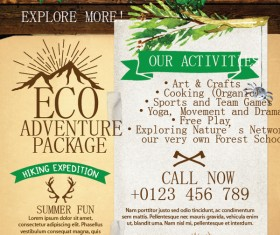 Adventure flyer template vector 01