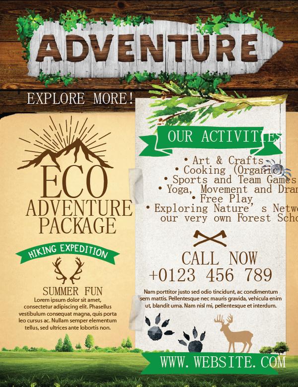 Adventure flyer template vector 02