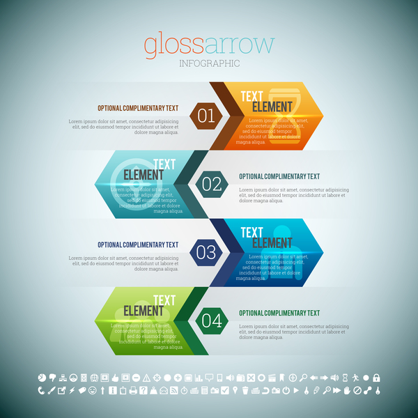 Arrow infographic template design vectors 04