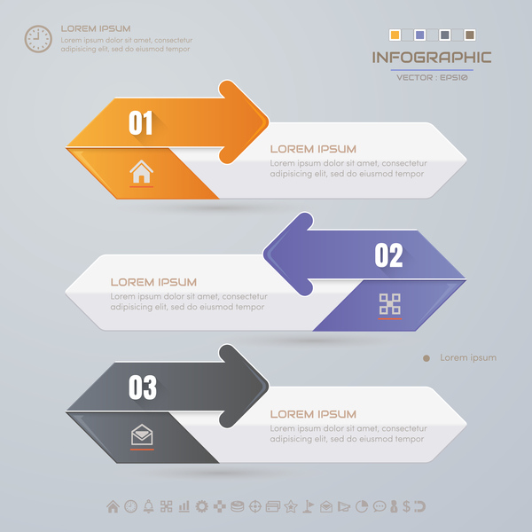 Arrow infographic template design vectors 05